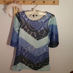 My Michelle Size 12 Formal Blue Lace Modern Dress
